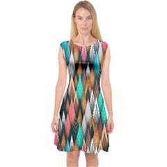 Background Pattern Abstract Triangle Capsleeve Midi Dress