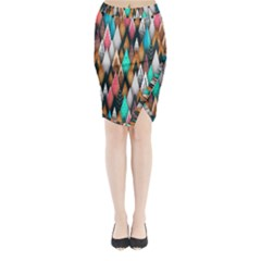 Background Pattern Abstract Triangle Midi Wrap Pencil Skirt