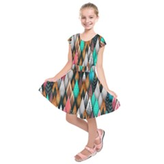 Background Pattern Abstract Triangle Kids  Short Sleeve Dress