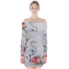 Background Scrapbook Paper Asian Long Sleeve Off Shoulder Dress