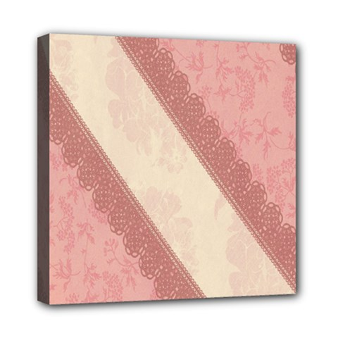 Background Pink Great Floral Design Mini Canvas 8  x 8
