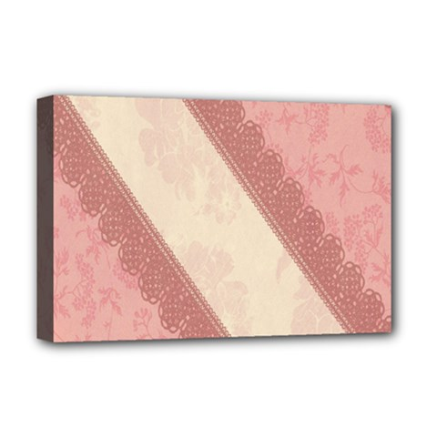 Background Pink Great Floral Design Deluxe Canvas 18  x 12