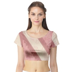 Background Pink Great Floral Design Short Sleeve Crop Top (Tight Fit)