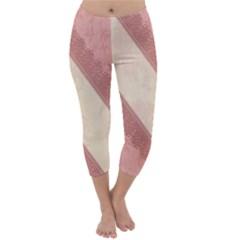 Background Pink Great Floral Design Capri Winter Leggings