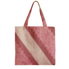 Background Pink Great Floral Design Zipper Grocery Tote Bag