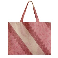 Background Pink Great Floral Design Zipper Mini Tote Bag