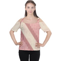 Background Pink Great Floral Design Women s Cutout Shoulder Tee