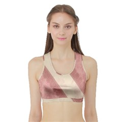 Background Pink Great Floral Design Sports Bra with Border