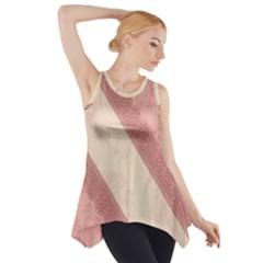 Background Pink Great Floral Design Side Drop Tank Tunic