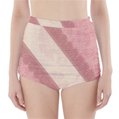 Background Pink Great Floral Design High-Waisted Bikini Bottoms