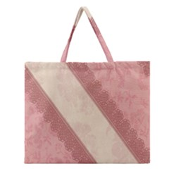 Background Pink Great Floral Design Zipper Large Tote Bag