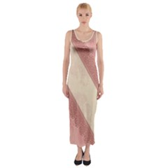 Background Pink Great Floral Design Fitted Maxi Dress