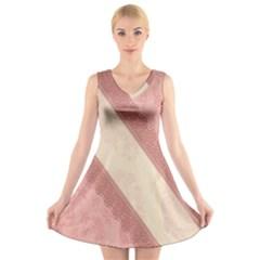 Background Pink Great Floral Design V-Neck Sleeveless Skater Dress
