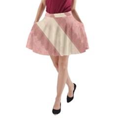 Background Pink Great Floral Design A-Line Pocket Skirt