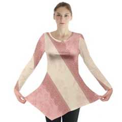Background Pink Great Floral Design Long Sleeve Tunic