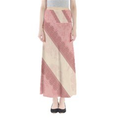 Background Pink Great Floral Design Maxi Skirts