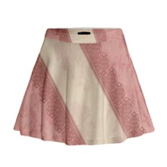 Background Pink Great Floral Design Mini Flare Skirt