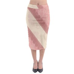 Background Pink Great Floral Design Midi Pencil Skirt