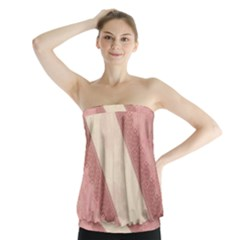 Background Pink Great Floral Design Strapless Top