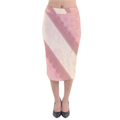Background Pink Great Floral Design Velvet Midi Pencil Skirt