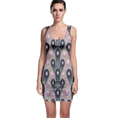 Background Abstract Pattern Grey Sleeveless Bodycon Dress