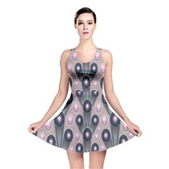Background Abstract Pattern Grey Reversible Skater Dress