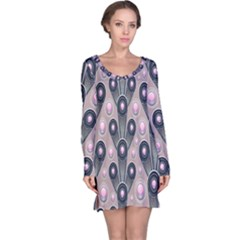 Background Abstract Pattern Grey Long Sleeve Nightdress