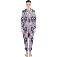 Background Abstract Pattern Grey Hooded Jumpsuit (Ladies)