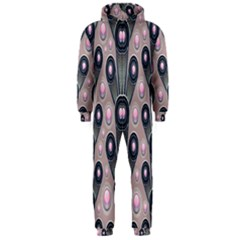 Background Abstract Pattern Grey Hooded Jumpsuit (Men)