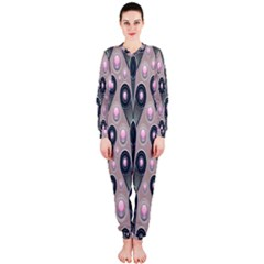 Background Abstract Pattern Grey OnePiece Jumpsuit (Ladies)