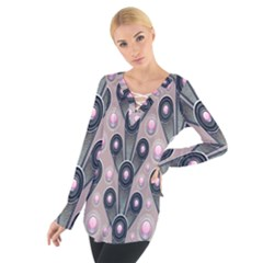 Background Abstract Pattern Grey Women s Tie Up Tee