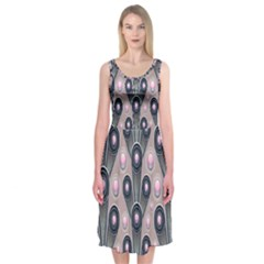 Background Abstract Pattern Grey Midi Sleeveless Dress
