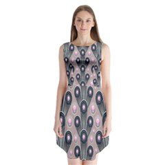 Background Abstract Pattern Grey Sleeveless Chiffon Dress