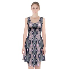 Background Abstract Pattern Grey Racerback Midi Dress