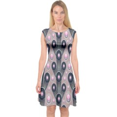 Background Abstract Pattern Grey Capsleeve Midi Dress