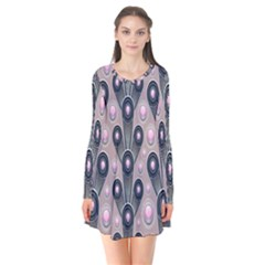 Background Abstract Pattern Grey Flare Dress