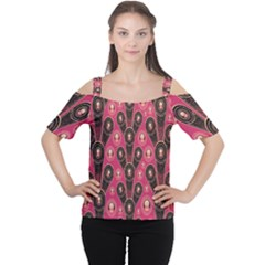 Background Abstract Pattern Women s Cutout Shoulder Tee