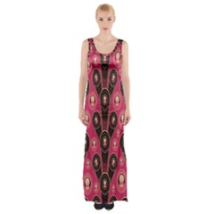 Background Abstract Pattern Maxi Thigh Split Dress