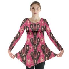 Background Abstract Pattern Long Sleeve Tunic