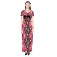 Background Abstract Pattern Short Sleeve Maxi Dress