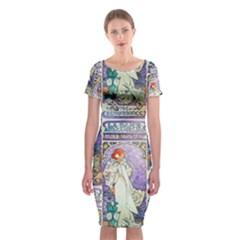 Alfons Mucha 1896 La Dame Aux Cam¨|lias Classic Short Sleeve Midi Dress