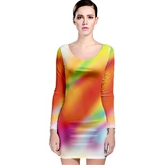 Blur Color Colorful Background Long Sleeve Bodycon Dress