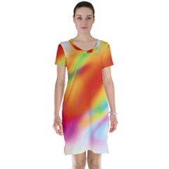 Blur Color Colorful Background Short Sleeve Nightdress