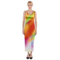 Blur Color Colorful Background Fitted Maxi Dress