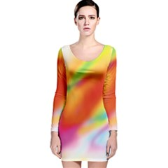 Blur Color Colorful Background Long Sleeve Velvet Bodycon Dress