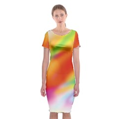 Blur Color Colorful Background Classic Short Sleeve Midi Dress