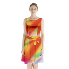 Blur Color Colorful Background Sleeveless Chiffon Waist Tie Dress