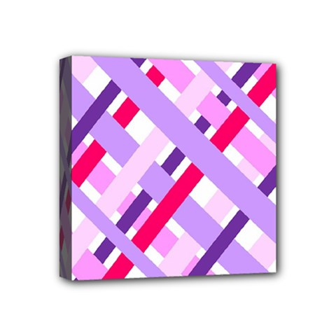 Diagonal Gingham Geometric Mini Canvas 4  x 4