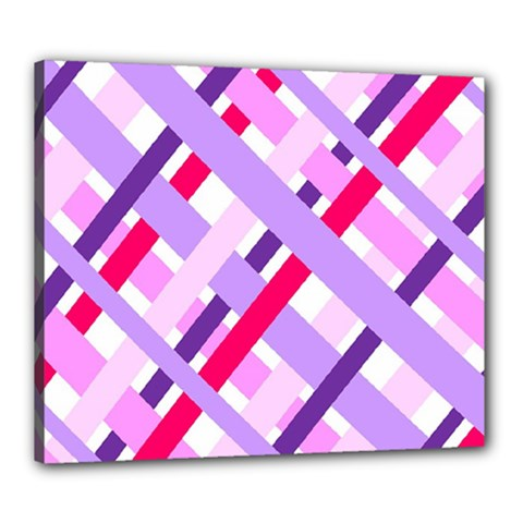 Diagonal Gingham Geometric Canvas 24  x 20