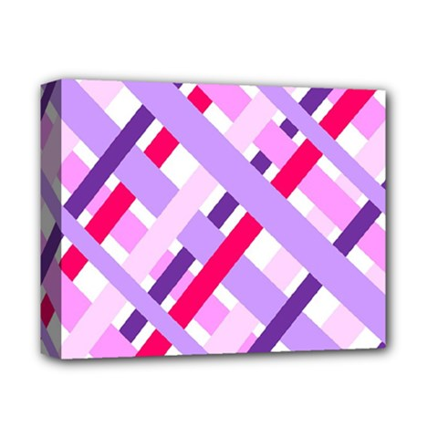 Diagonal Gingham Geometric Deluxe Canvas 14  x 11